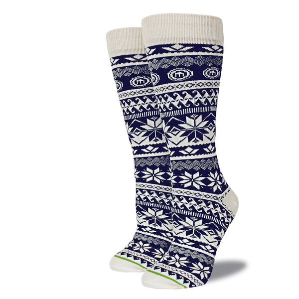 Women's Navy Snowflake Socks