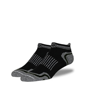Men's Black and Black Low Cut Performance Socks