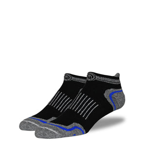 Men's Black and Blue Low Cut Performance Socks