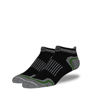 Men's Black and Army Green Low Cut Performance Socks