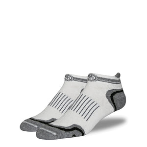 Men's White and Black Low Cut Performance Socks