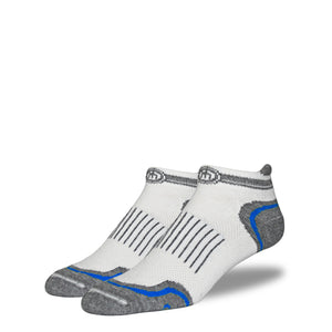 Men's White and Blue Low Cut Performance Socks