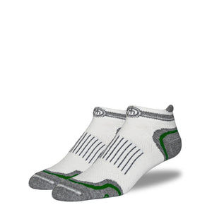 Men's White and Army Green Low Cut Performance Socks