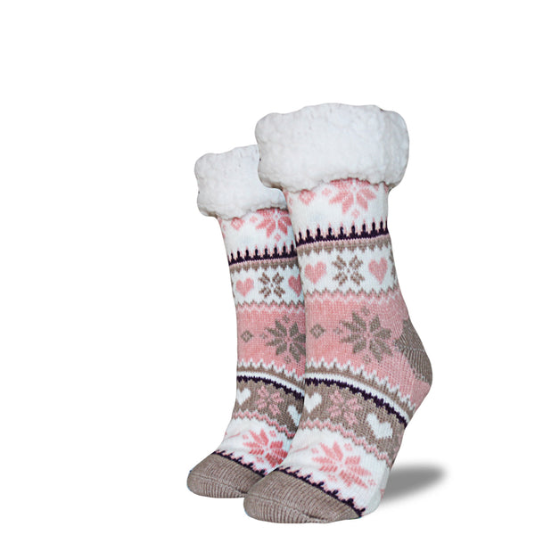 Women's Sherpa Socks - Pink | Cream | Tan