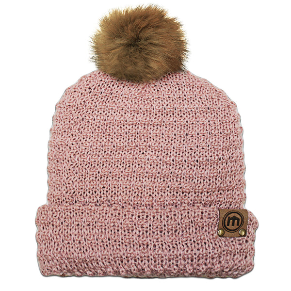 Faux Fur Pom Dusty Pink Knit Cuffed Beanie