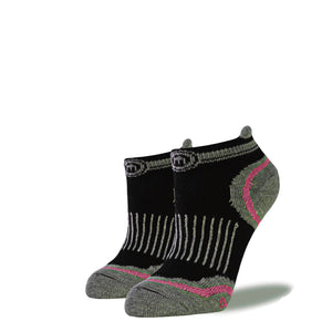 Women's Black and Pink Low Cut Performance Socks