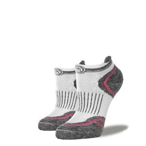 Women's White & Pink Low Cut Performance Socks