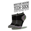 Women's Black and Purple Low Cut Performance Socks