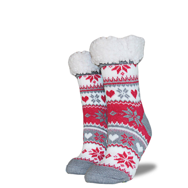 Women's Sherpa Socks - Red | Cream | Gray