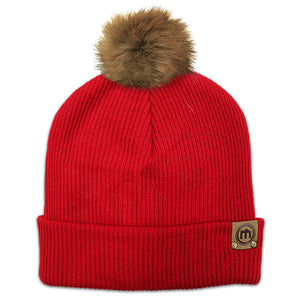 Faux Fur Pom Red Adjustable Cuffed Beanie