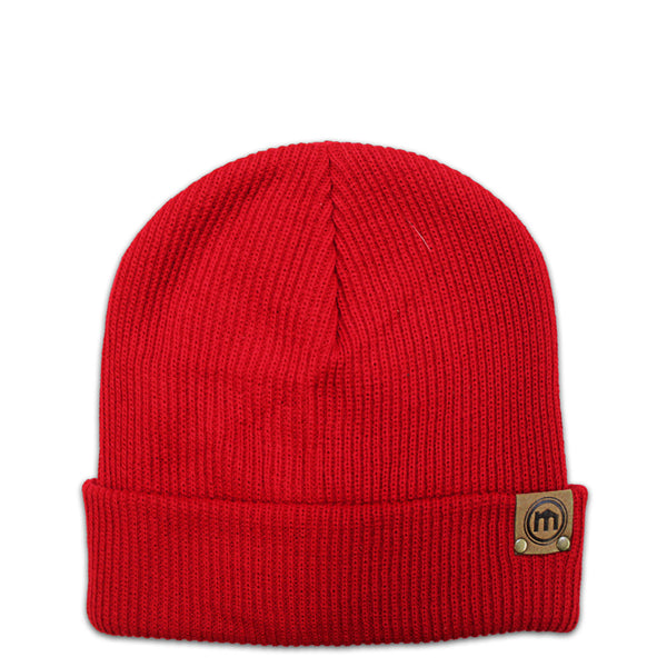 Red Adjustable Cuffed Beanie