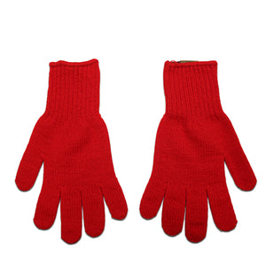 Red Acrylic Knit Gloves