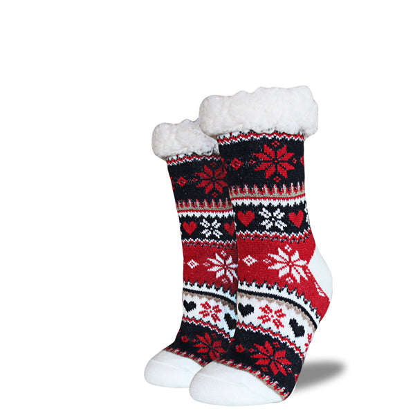 Women's Sherpa Socks - Red | Navy | Cream