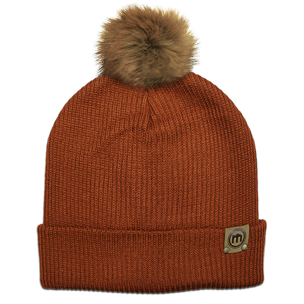 Faux Fur Pom Rust Adjustable Cuffed Beanie
