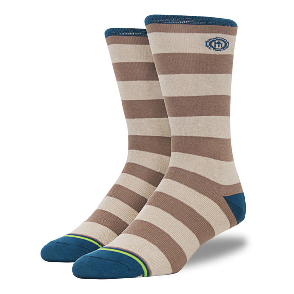 The Cain - Men's Brown and Tan Striped Socks