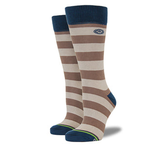 The Cain - Women's Brown and Tan Striped Socks