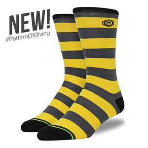 The Kimberly - Men's Black and Yellow Striped Socks