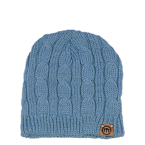 Washed Denim Cable Knit Beanie