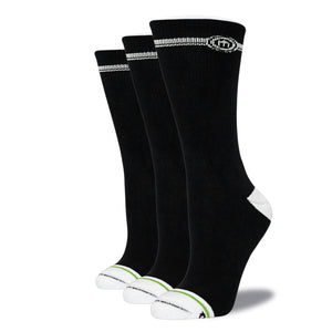 Women's Black Crew Cut Socks 3-Pack