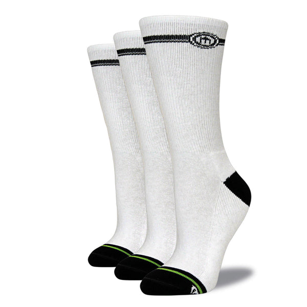 Women's White Crew Cut Socks 3-Pack