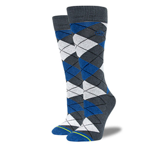 Women's Blue, Gray and White Argyle Socks
