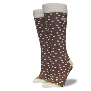 Women's Brown and Tan Polkadot Socks