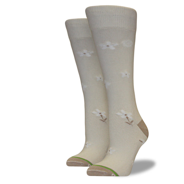 Women's Cream Floral Socks