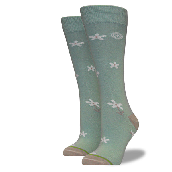 Women's Mint Green Floral Socks