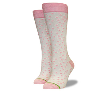 Women's Pink and Cream Polkadot Socks