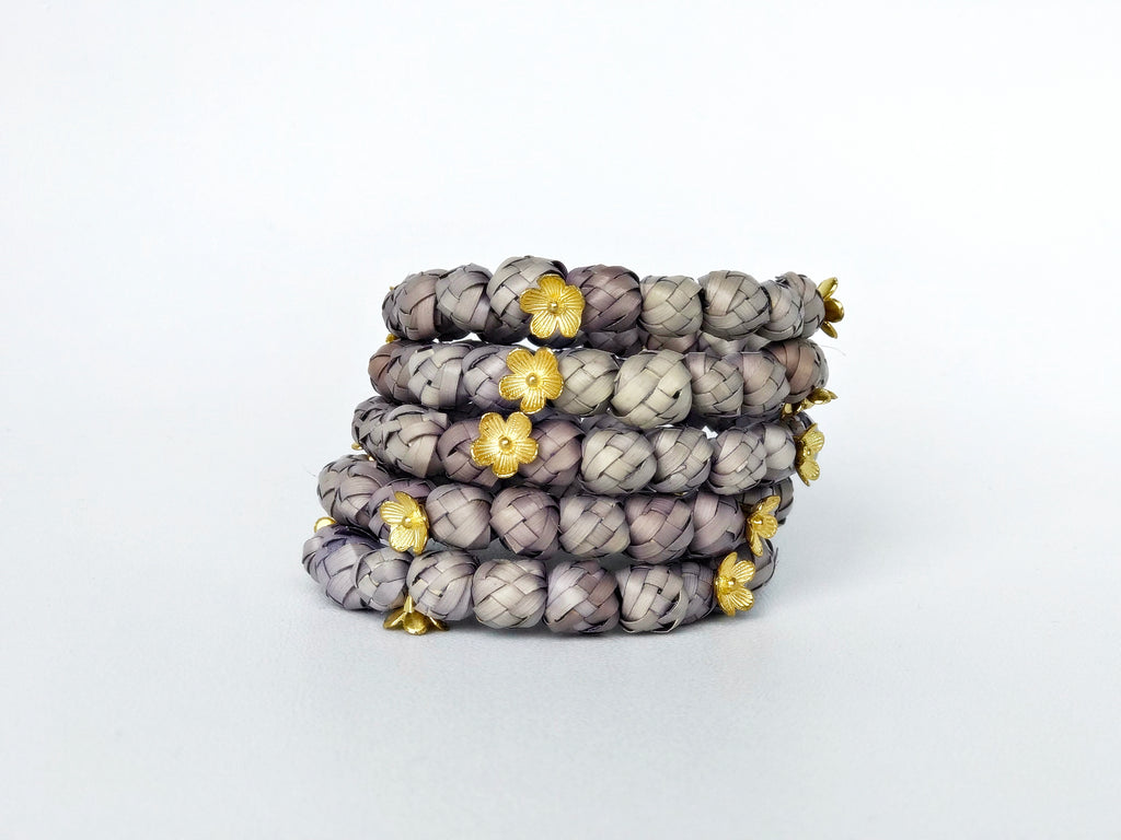 Gray palm leaf bracelet
