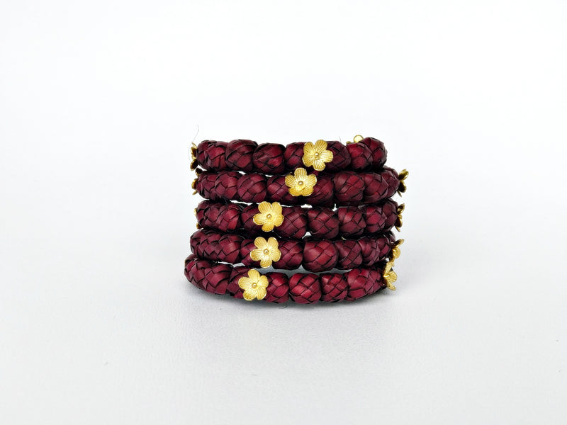 Burgundy palm leaf bracelet