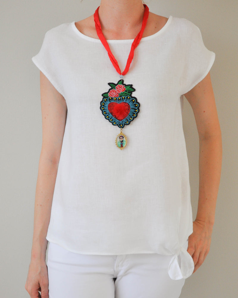 Heart and rose Necklace