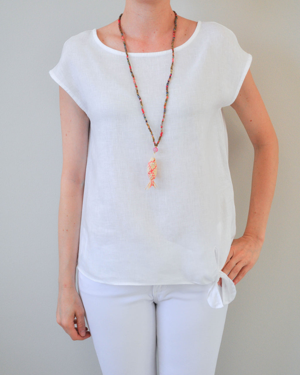 Beige & Coral fish Necklace
