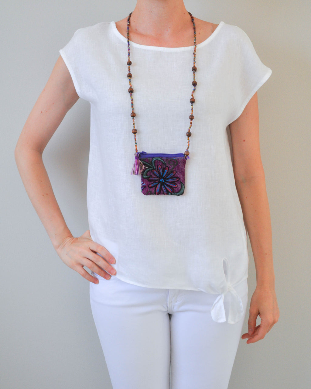 Purple flower Pouch Necklace