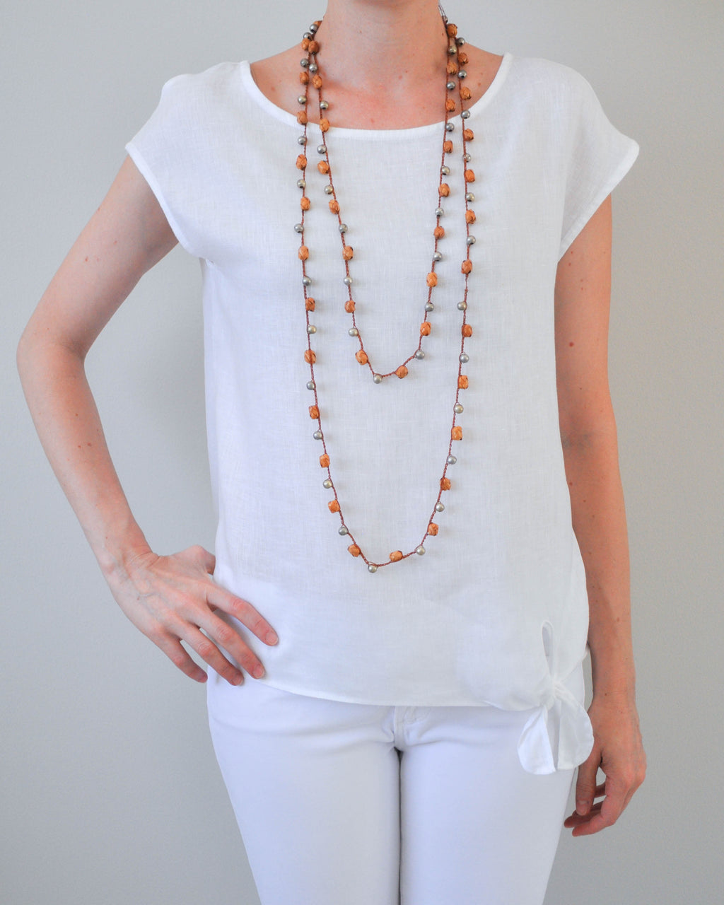 Orange palm leaf long necklace