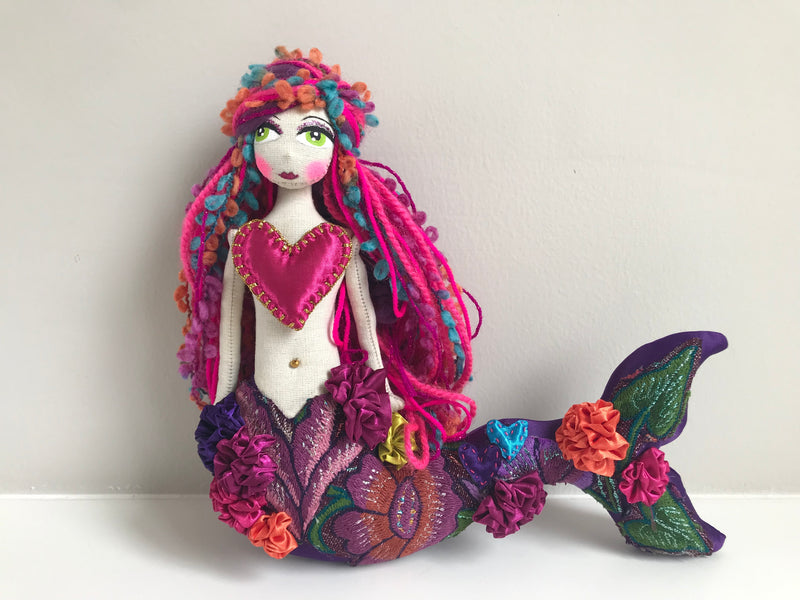 Pink heart mermaid doll