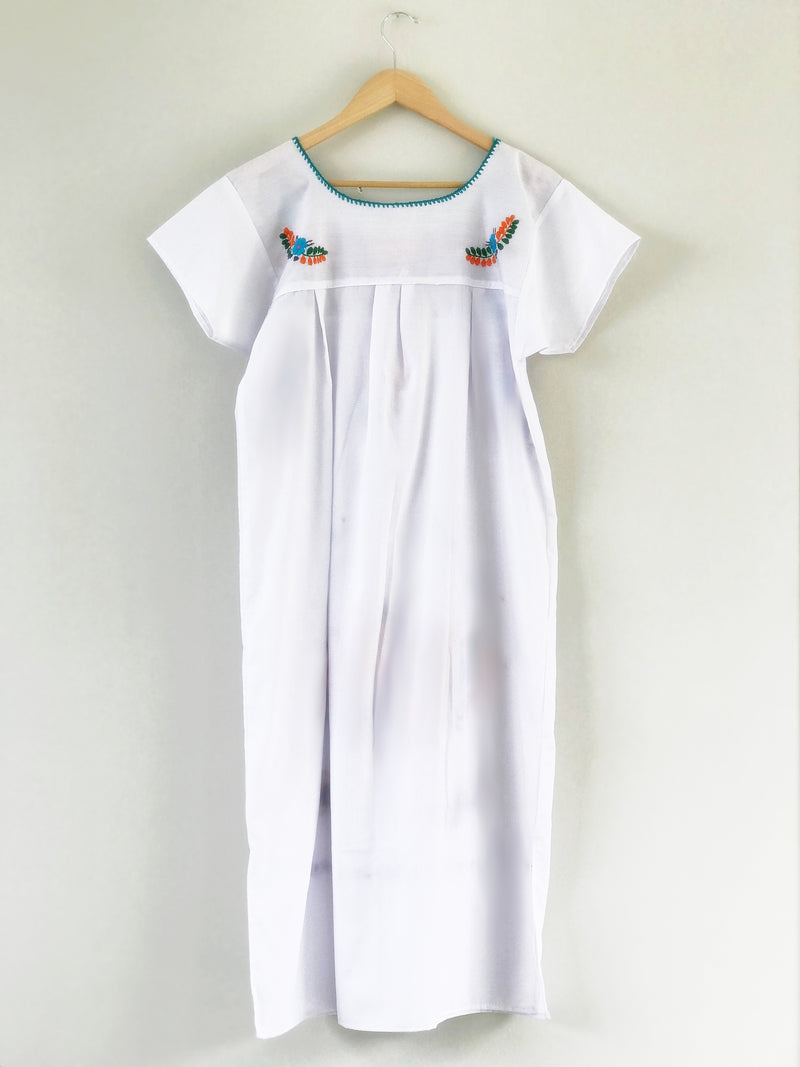 Long bouquet embroidered Dress - White