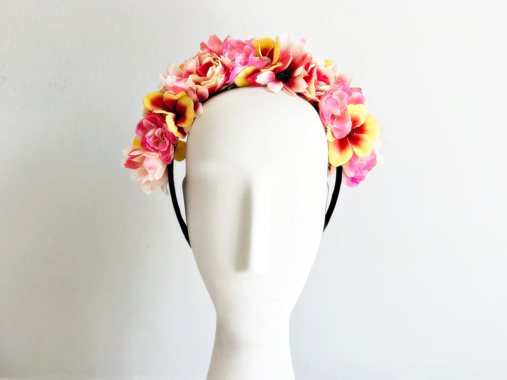 Peach and Pink Flower Crown