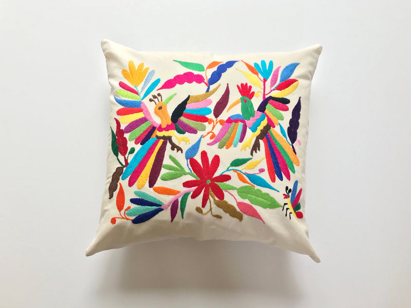 Multi color red flower Tenango Pillow