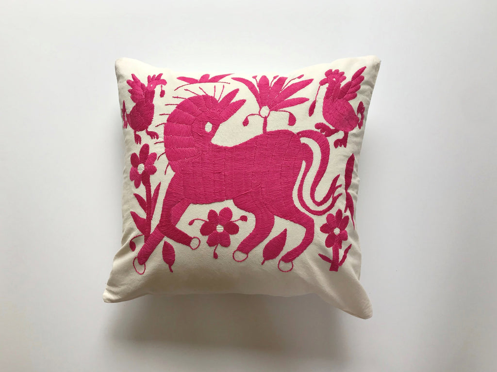 Pink Horse Tenango Pillow