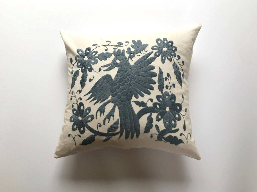 Gray flying bird Tenango Pillow