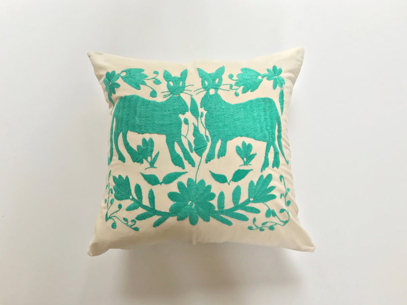 Cats turquoise Tenango Pillow