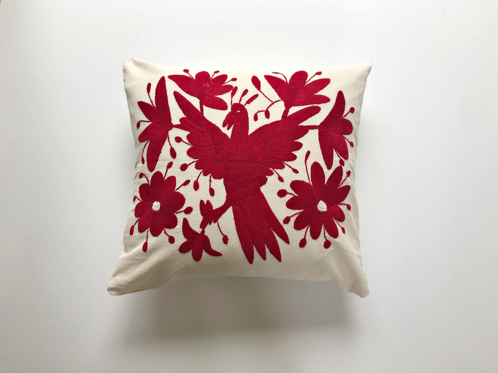 Carmine red bird Tenango Pillow
