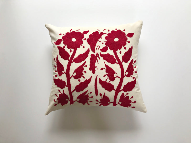 Carmine red flowers Tenango Pillow