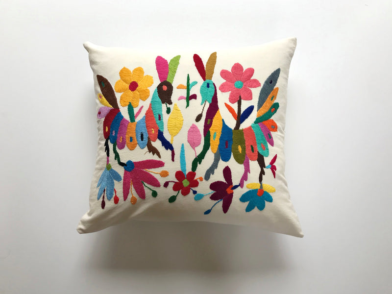 Animals multi color Tenango Pillow