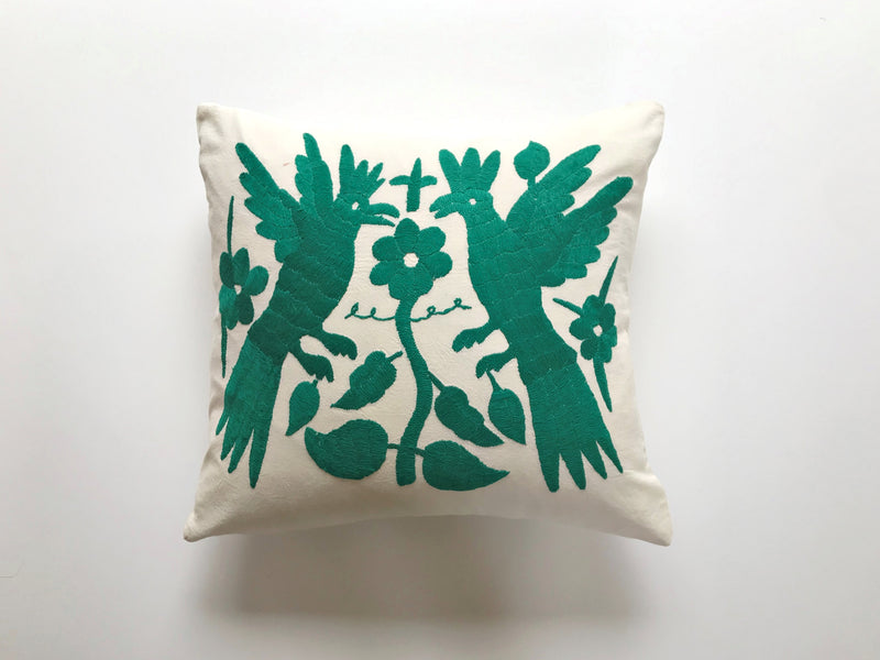Green roosters Tenango Pillow