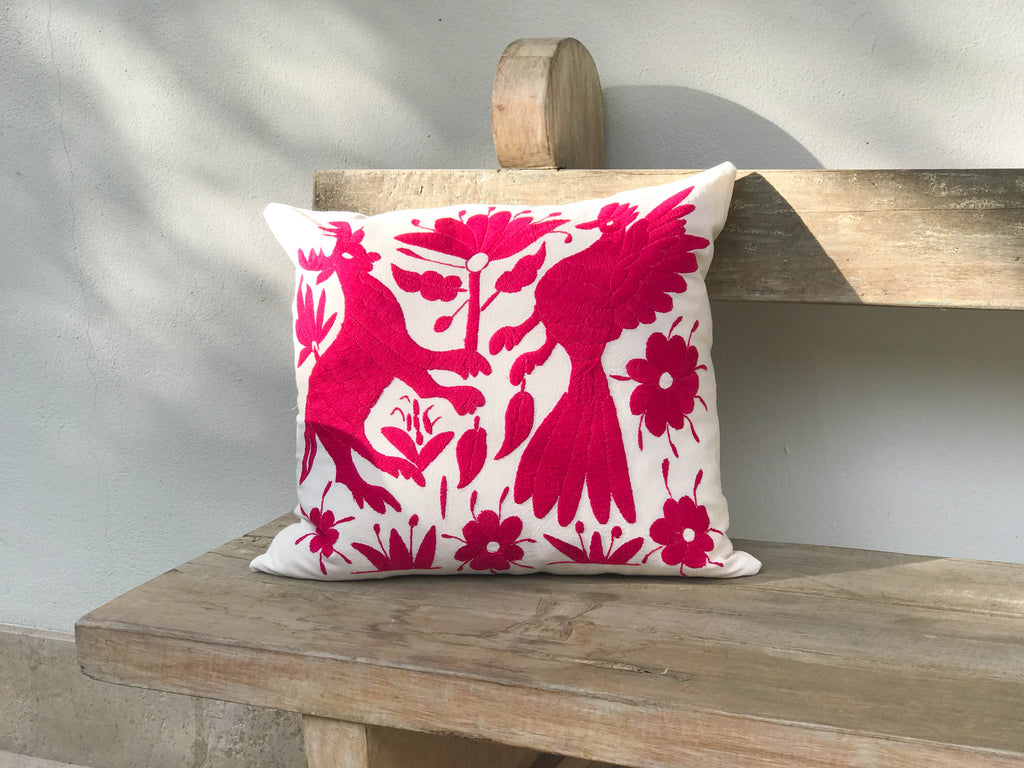 Animal & bird fiusha Tenango Pillow