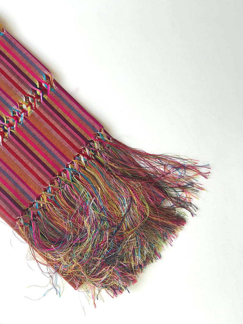 Red and pink striped rebozo