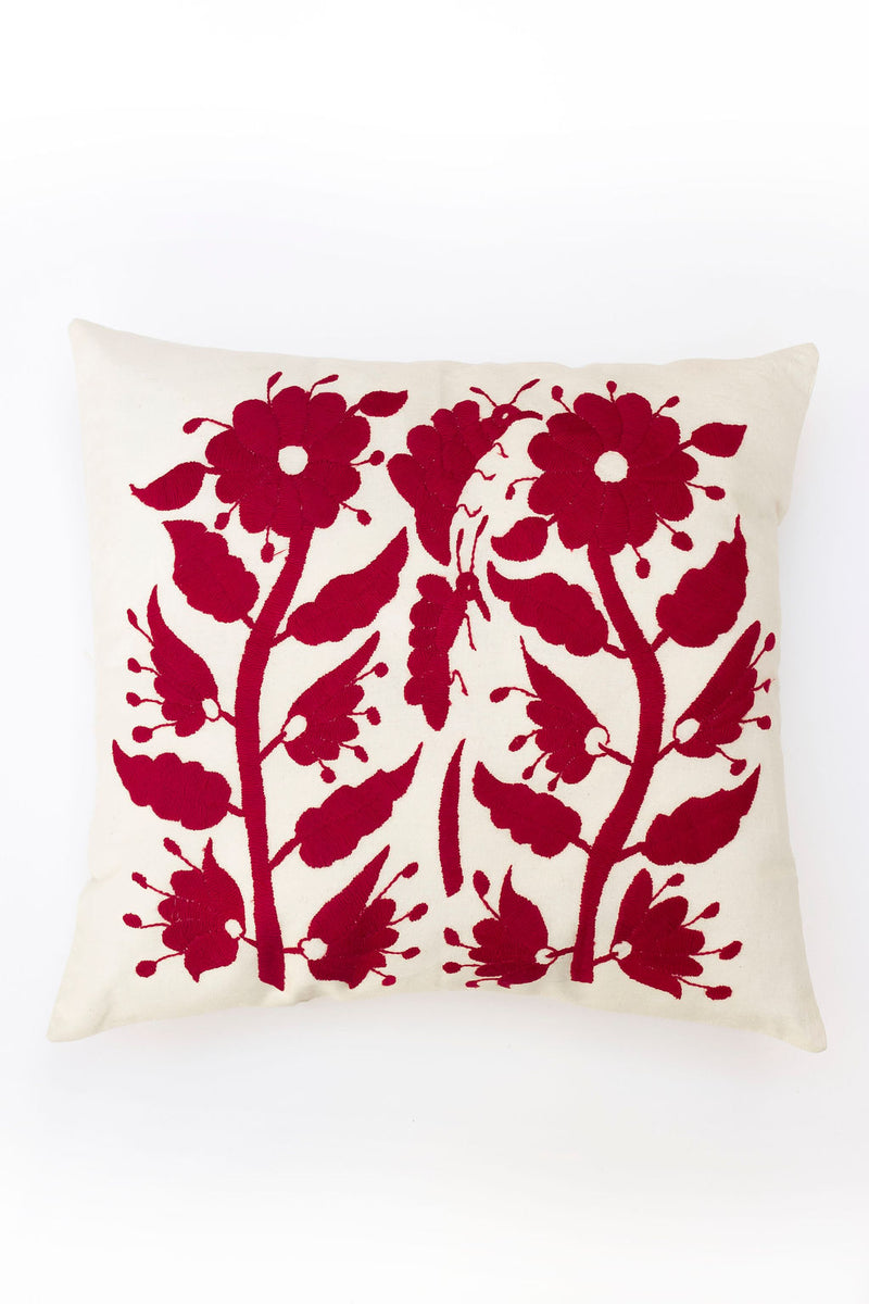 Carmine Red Tenango Pillow
