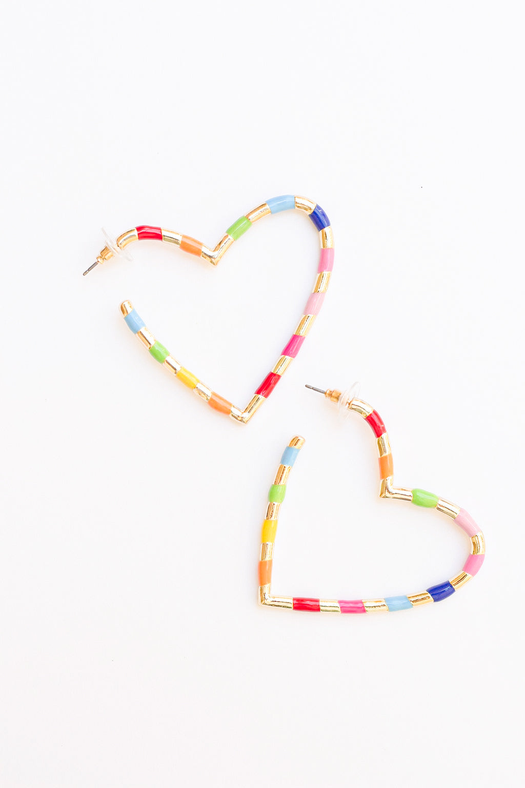 Multicolor heart hoop earrings